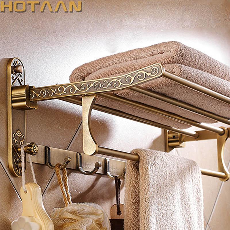 رف مناشف ألومنيوم عتيق الطراز ، نحاس ، قابل للطي ، مزدوج ، مع خطافات ، ملحقات الحمام