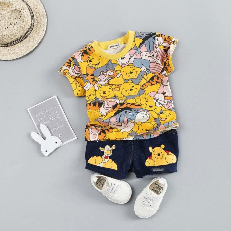 2021 Summer Baby Boy Clothing Sets Cartoon Bear Brand Boys Girl Clothes 1 2 3 4 Years Kids Set Cotton T-shit + Short Pants