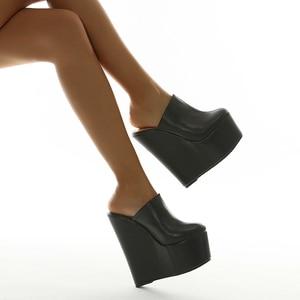 2021 New Summer Super High Heel Sandals European And American Nightclub Platform Wedges Sandals Women's Shoes Slippers Black