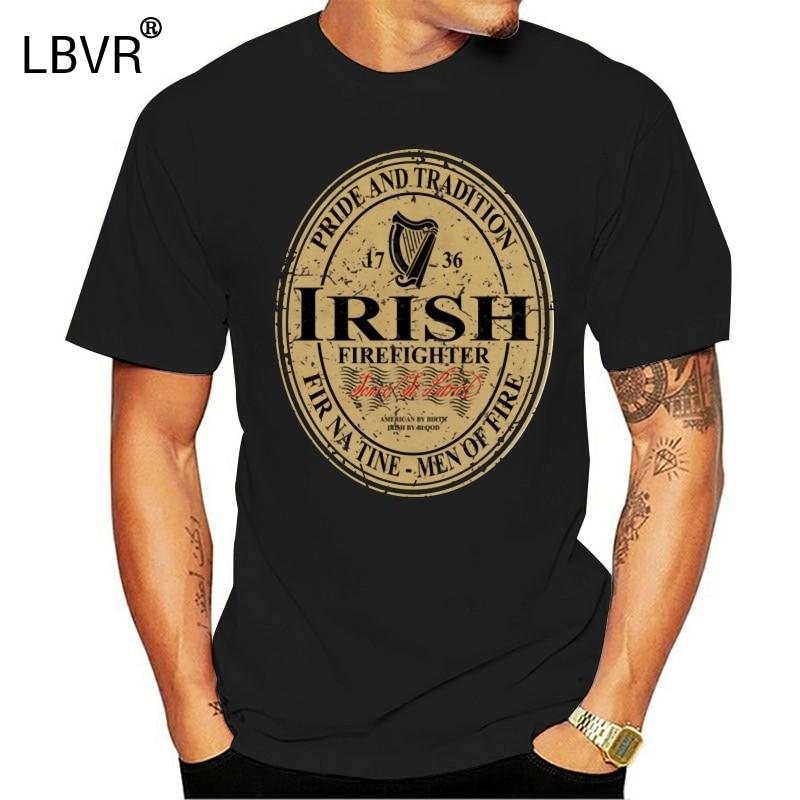 Camiseta Vintage de bombero irlandés cerveza Guinness - Happy Beer Day camisa negra para hombres 2Xl 9Xl camiseta