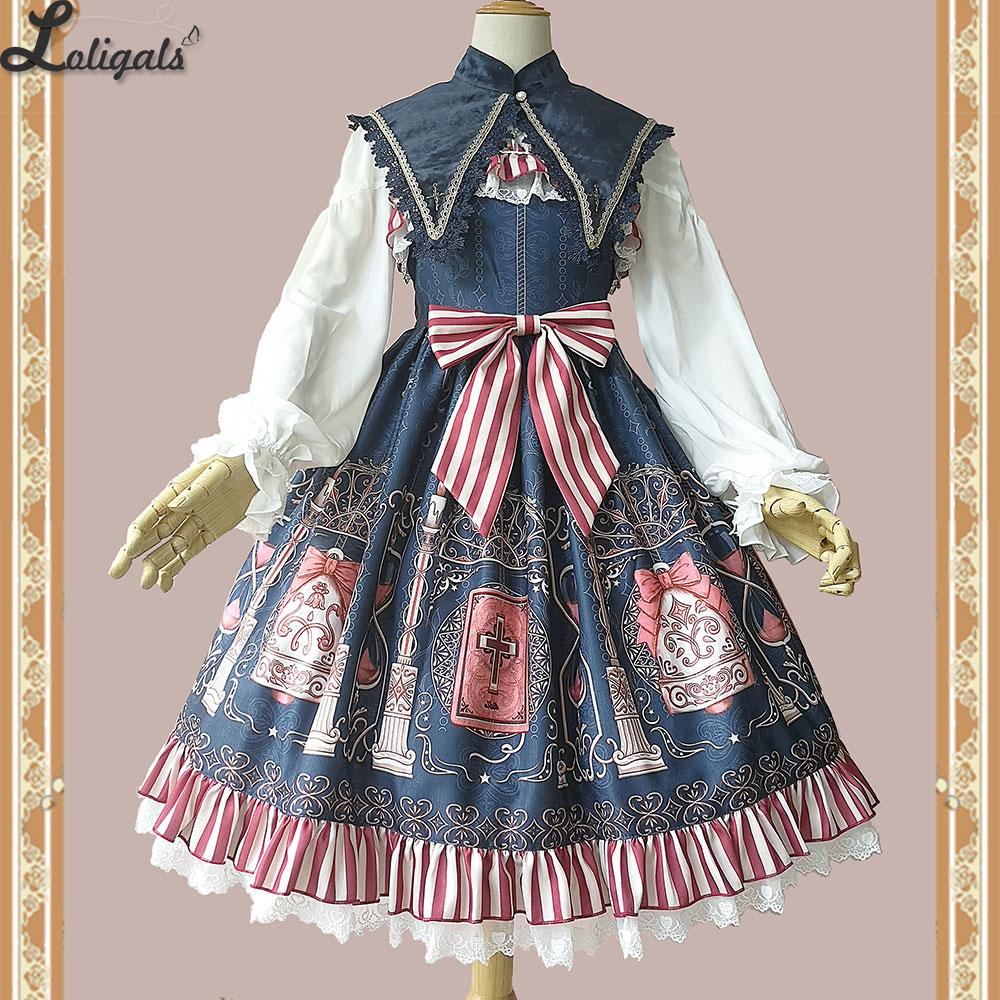 Holly School ~ Cross Printed Lolita JSK Dress by Infanta