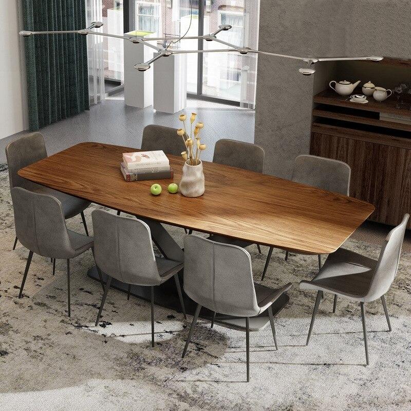 طاولة طعام خشبية مستطيلة الشكل بقاعدة معدنية ، 2019
