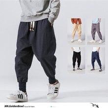 MrGB-pantalones de chándal de lino y algodón para hombre, ropa de calle informal, harén, geniales, de verano, de gran tamaño, 2021