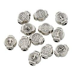 Saint grânulos benedict medalha cruz crucifixo espaçadores de metal 63 peças liga de zinco contas jóias diy l1802 7x9mm