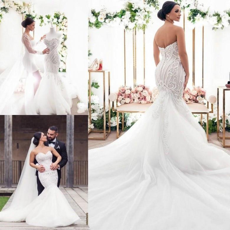 Платье свадебное кружевное с юбкой-годе, балахон с аппликацией и пуговицами на спине, Тюлевое пляжное платье невесты со шлейфом