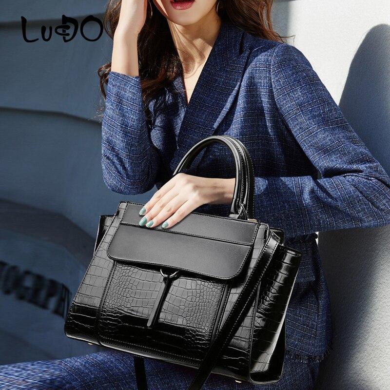 حقائب يد فاخرة بنمط تمساح ، حقيبة يد ذات سعة كبيرة ، حقيبة تسوق ذات نوعية جيدة