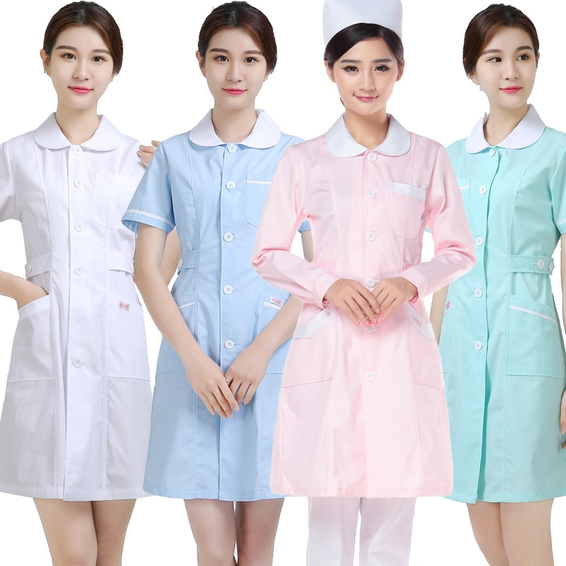 Nurses wear long-sleeved, round-necked beauty suits and short-sleeved drugstore uniforms and medical white coats euro american simple round necked short sleeved chic port flavored elastic knitted dress with tight body and buttocks