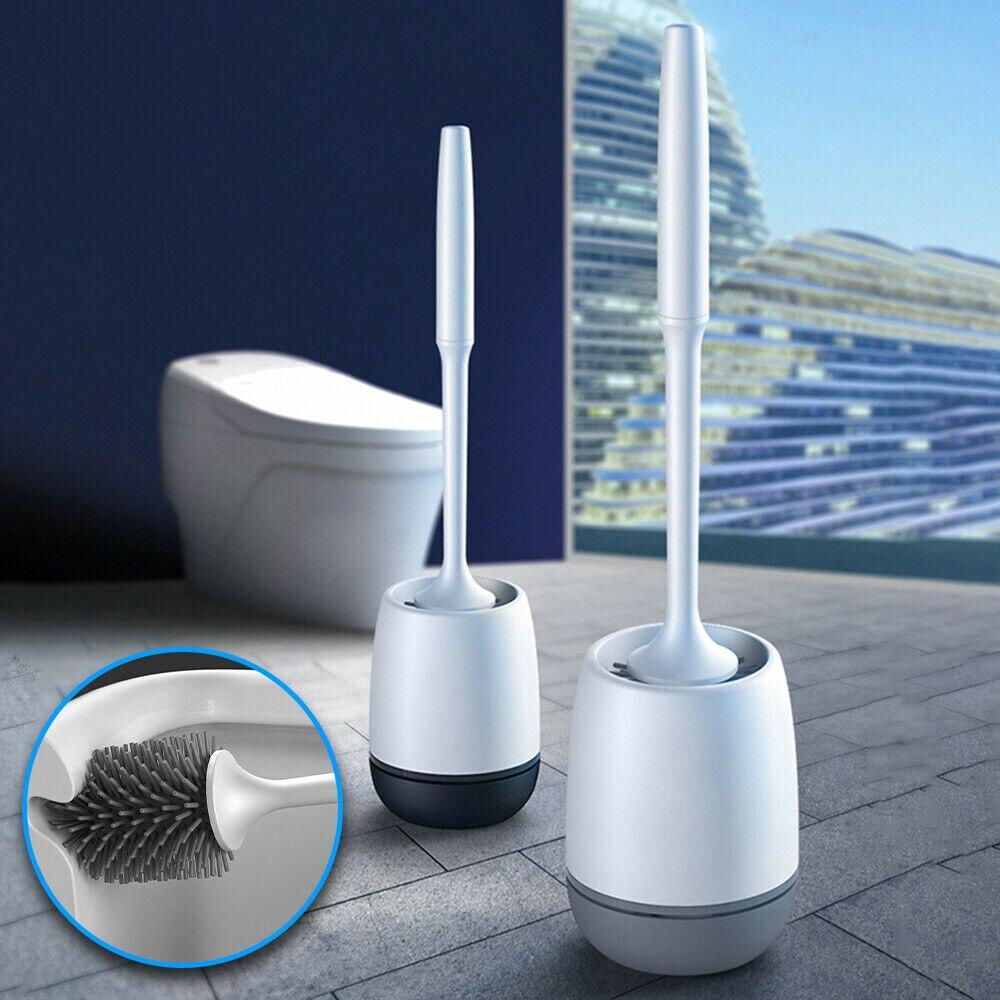 Gran oferta, cepillo de baño de silicona suave TPR, cabezal de cepillo montado en la pared o de pie, accesorios de limpieza de baño para el hogar