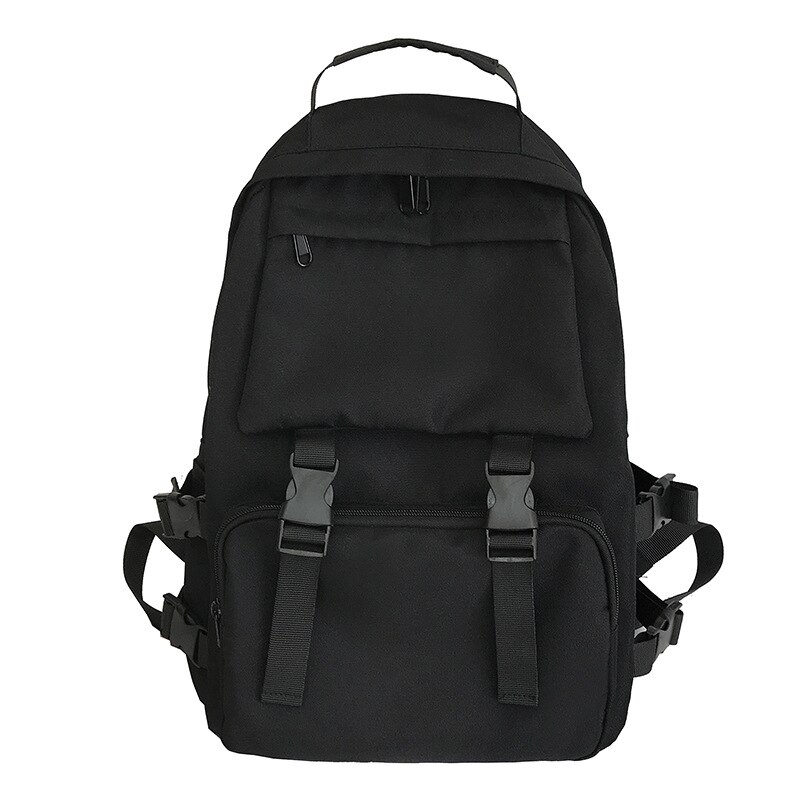 Black High-capacity Backpack Solid Color High School Student Bag Men Large Capacity Travel Backpack Travel Bags