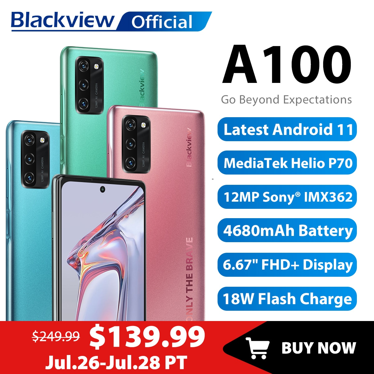 Blackview A100 Helio P70 Android 11 Smartphone 6GB+128GB 6.67