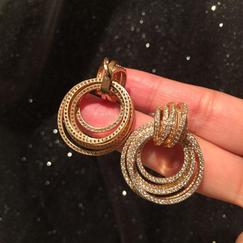 Circle earring multi-layer circle retro simple atmosphere elegant star earrings S925 silver needle network celebrity earrings