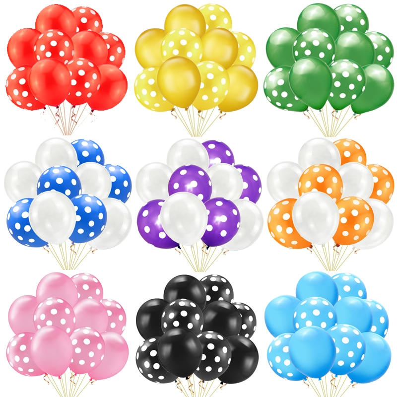 PINK MINNIE 10pcs Color Polka Dots Balloons Blue Red Black Latex Party Balloon for Wedding Birthday Festival Decoration Supplies