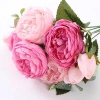 Fausses roses pivoines artificielles  5 grandes tetes Bouquet  Bouquet de roses pivoines en soie  4 bourgeons  decoration de maison pour mariage