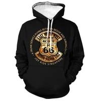 mens fashion route 66 highway 3d printing hoodie hoodie sweater 66 letter western style streetwear hoodie xxs 4xl