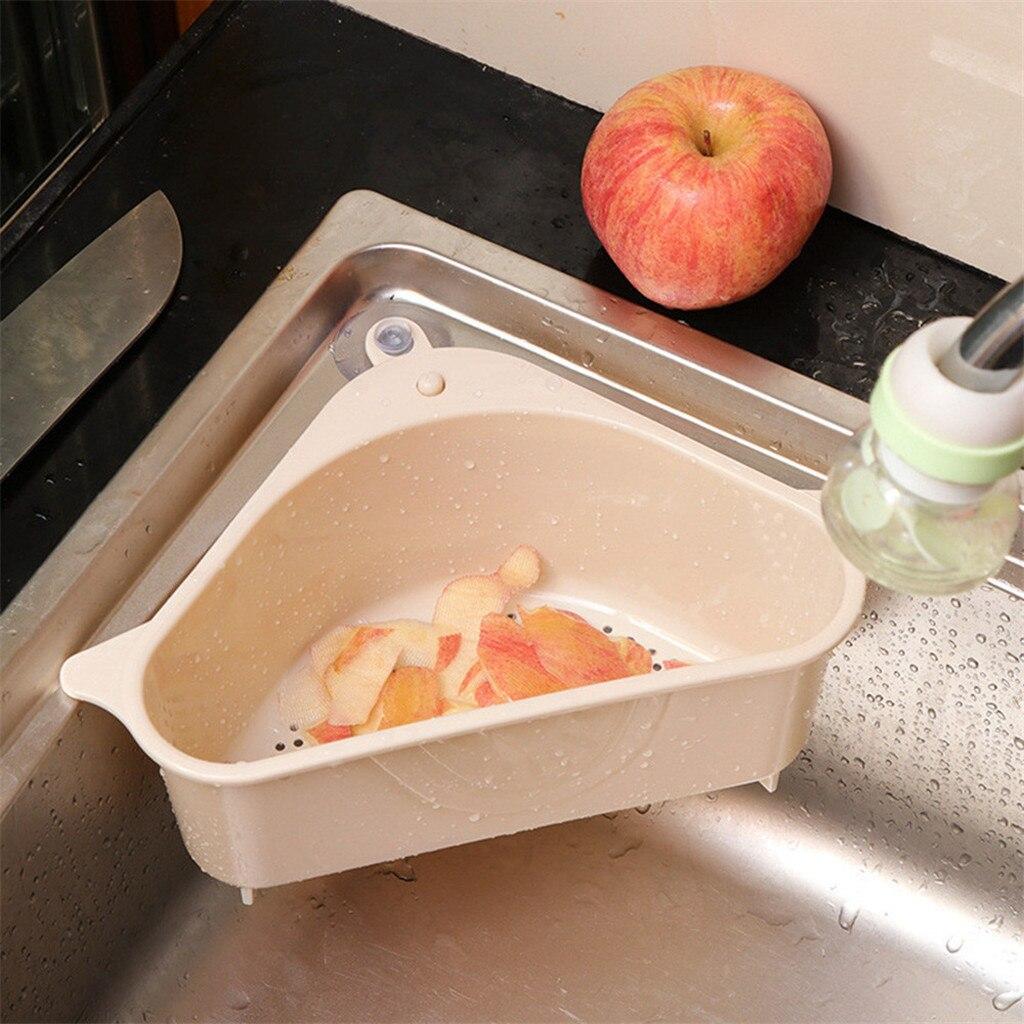 Multi Purpose Sink Storage Rack Sponge Drain Box Plastic Fruits Strainer Basket Sucker Waste Bin Kitchen Organizer#25