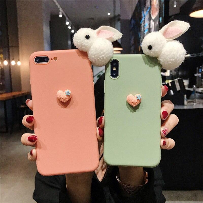Funda de teléfono para Xiaomi de silicona blanda con conejo Redmi Note 8 pro, note 5, note 4X, note 6, K20 pro, redmi 3s, 4A, 5A, cubierta bonita Conejito de peluche