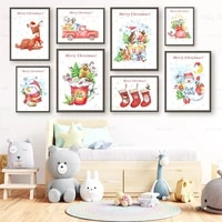 merry christmas canvas painting santa gift poster socks wallpaper decoration print picture craft for home bedroom festival