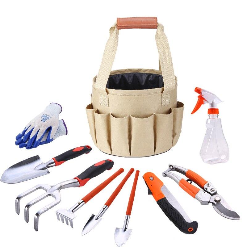 10 ピース/セット庭キット手袋剪定ばさみすくいフォークスペードシャベルこてナイフ水スプレーボトルガーデン盆栽ツールセットでバケットバッグ