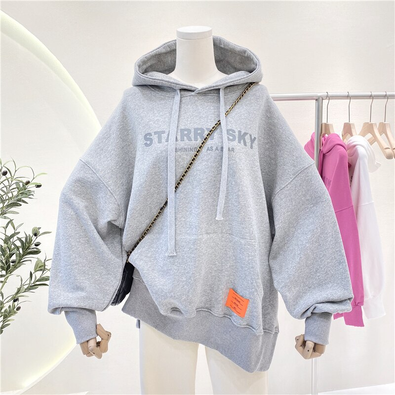 Plus Size Women's Casual Hoodies Jumpers 2021 Spring Plain Letter Print Hooded Sweatshirts Oversized Cotton Pullovers  3