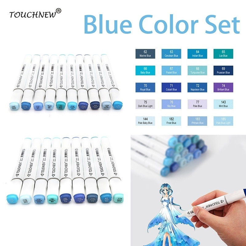 TOUCHNEW 20 colores/set azul Color aceitoso a base de Alcohol marcadores de doble cabeza de artista de diseño de Manga estudiante de dibujo materiales para dibujo y Bellas Artes