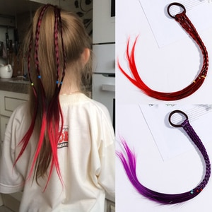 Richkeda Store New 2021 Girls Colorful Wigs Ponytail Hair Ornament Headbands Rubber Bands Beauty Hair Bands Headwear Kids