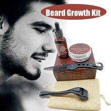 Beard Growth Kit Barber Hair Growth Enhancer Set Beard Nourishing Growth Essential Oil Facial Beard Care + Beard Growth Roller