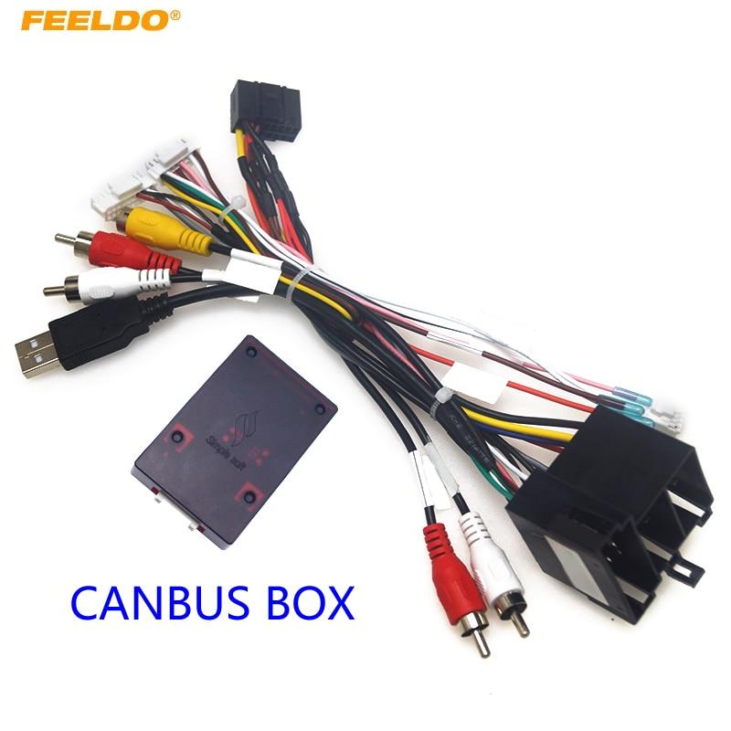 FEELDO Car Radio 16PIN Android Power Calbe With Canbus Box For KIA Sorento Cerato Audio Wiring Harness Adapter #HQ6519
