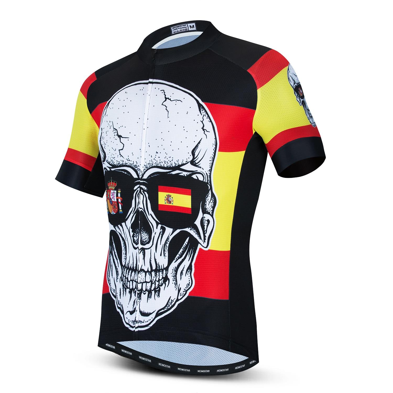 2020 España Ciclismo Jersey hombres de manga corta MTB bicicleta ropa 3D cráneo Maillot Ciclismo Hombre verano ropa de Ciclismo Tops deportivos
