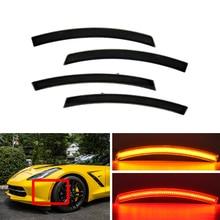 Fits For Chevrolet Corvette C7 2014-2019 Smoked F&R Amber Red Led Side Marker Lights Indicator