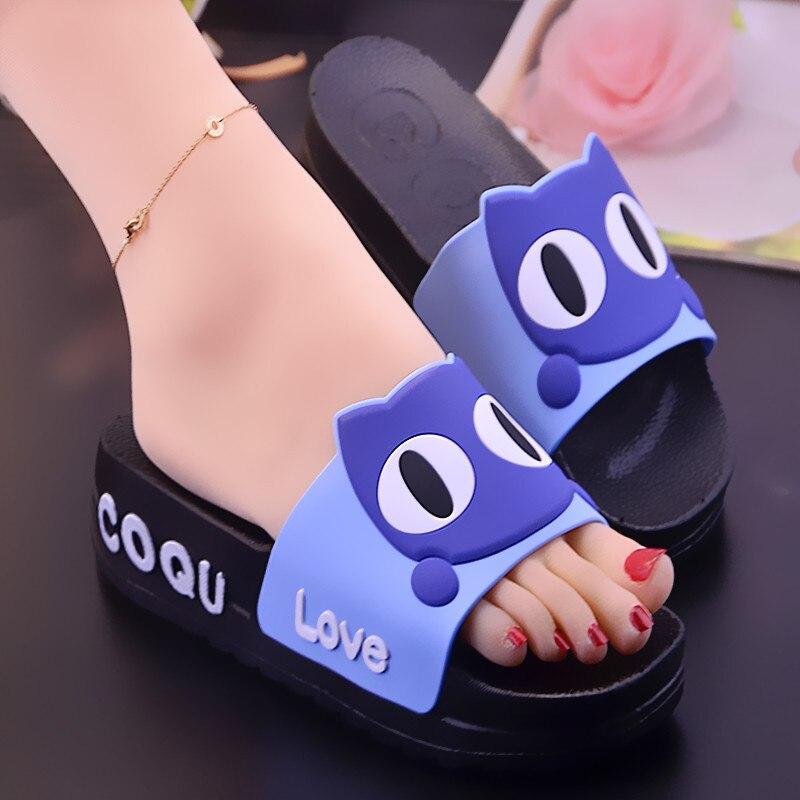 2021 Summer Thick Platform Slippers Women Fashion Cute Cartoon Wedges Home Non-slip Bathroon Womans Slides Outside Beach Sandals