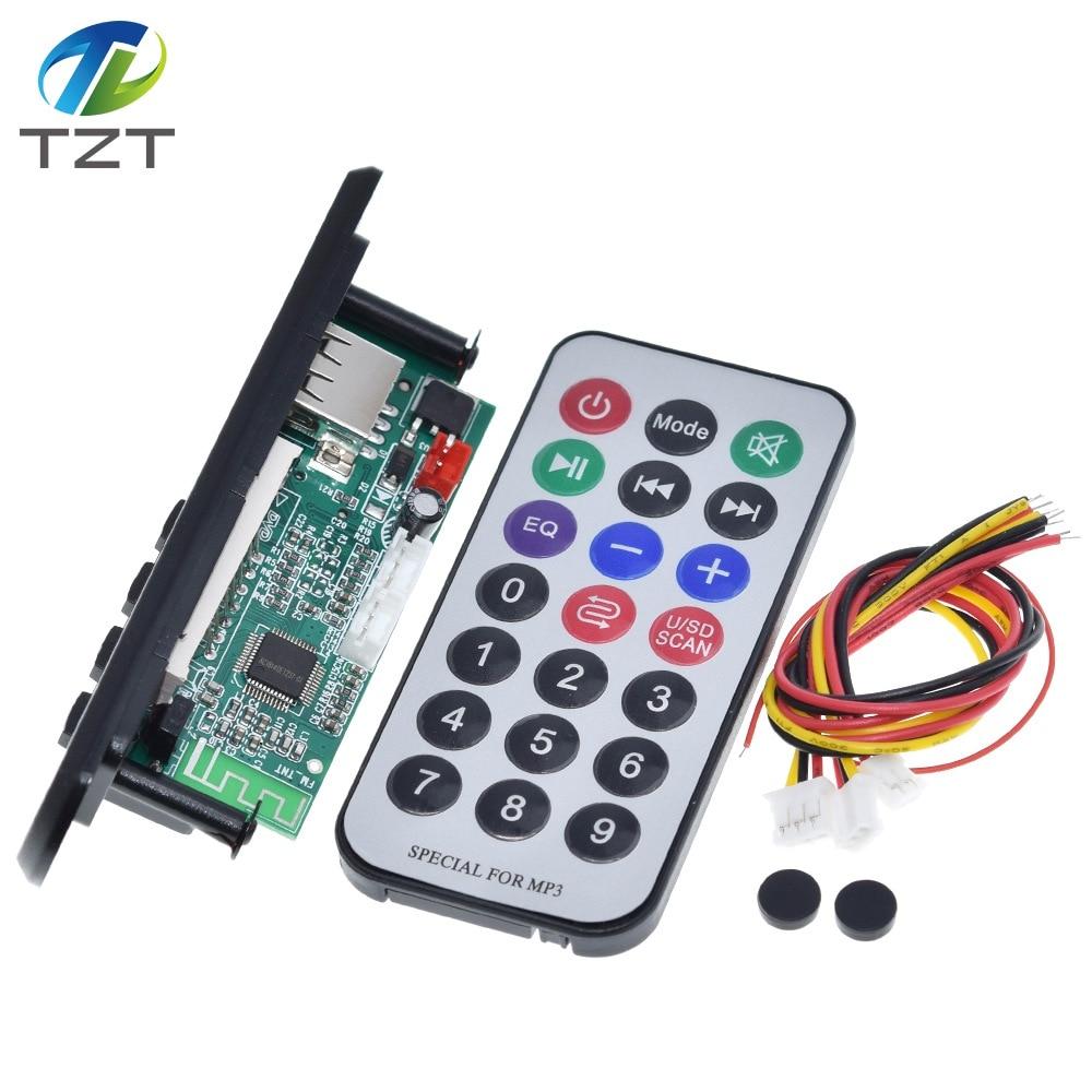 TZT-placa decodificadora inalámbrica MP3, con mando a distancia WMA, 12V, Bluetooth 5,0, USB, FM, AUX, módulo de tarjeta SD, Radio y altavoz MP3 para coche