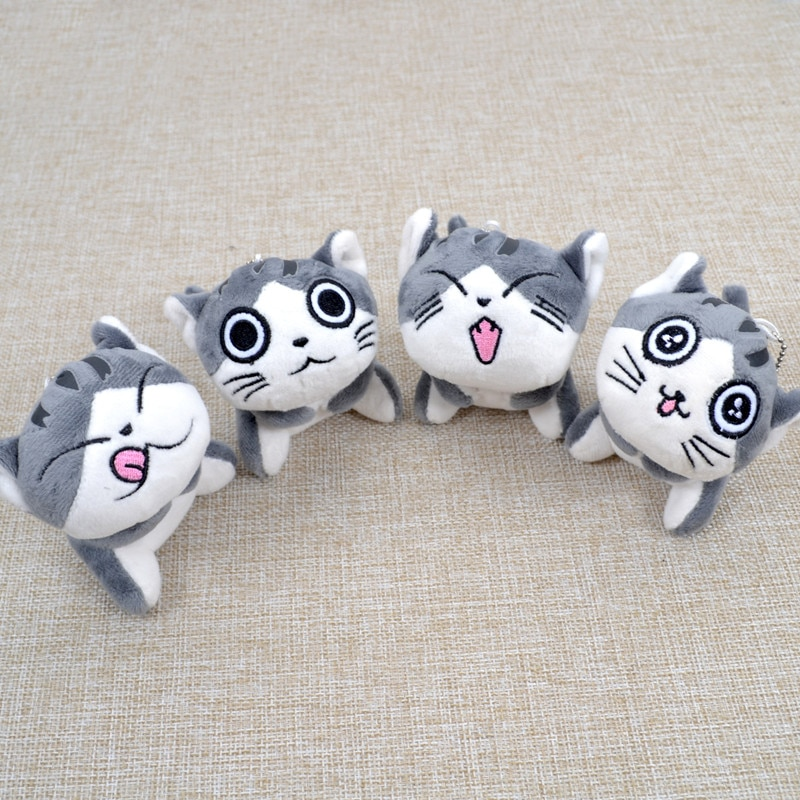 original feisty pets funny expression change face plush unicorn dog panada cat stuffed animals with keychain toys kids baby gift Super Cute Sitting Chi Cat Keychain Plush Toys Dolls 10cm Stuffed Animals Soft Toys Kawaii Mini Kids Gifts