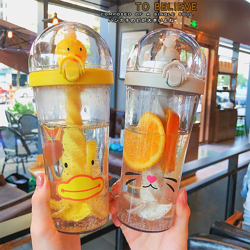 Cartoon Creative Plastic Straw Cup Travel Large Capacity Water Bottle Cute Portable Juice Stirring D