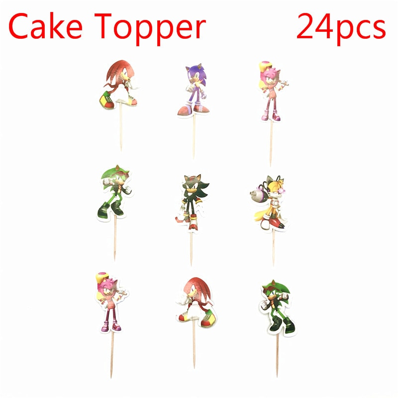 24pcs Cartoon man Party Cupcake Cake Toppers Picks Kids Birthday Party Supplies Wedding Decorations Cake Cup