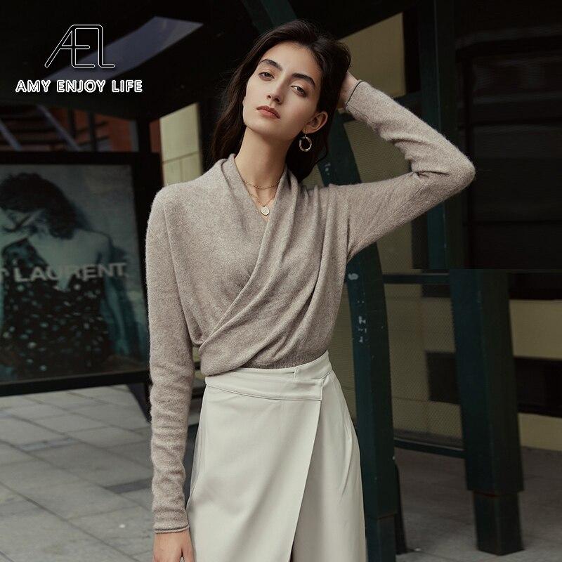 AEL gestrickte Pullover Jumper Frauen Weiche Winter Warme 100% Wolle V-ausschnitt Femme Kaschmir Pullover
