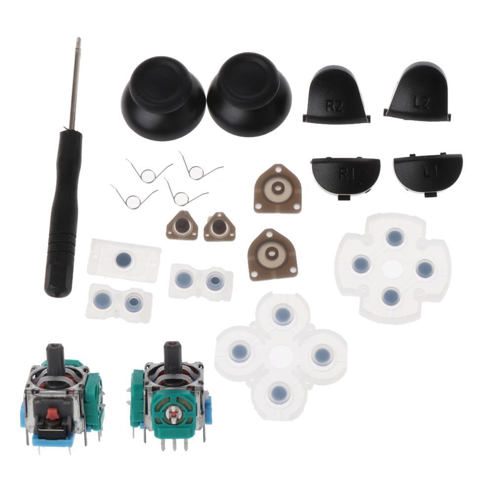 L1 r1 l2 r2 botões de gatilho, 3d análogos, joysticks, tampa de borracha condutor para controle de ps4, conjunto de reparo