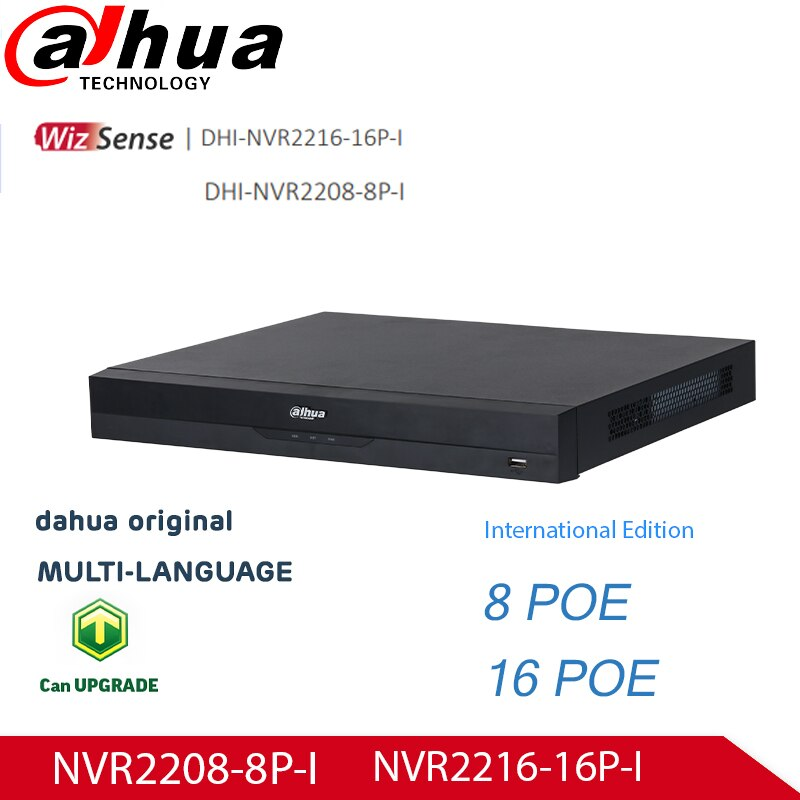 داهوا AI NVR الوجه التعرف على شبكة WizSense مسجل NVR2208-8P-I 8POE الموانئ و NVR2216-16P-I 16ch 16POE منافذ 4K 12MP القرار