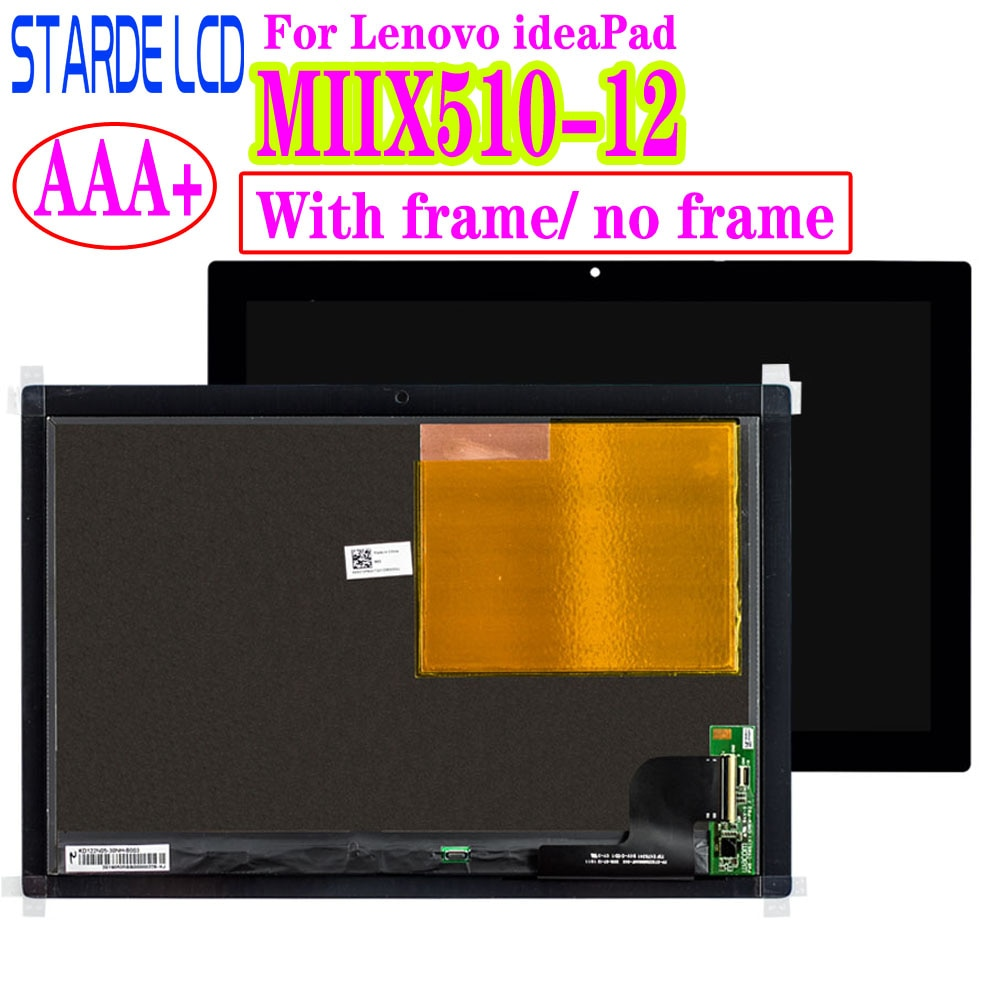 Digitalizador táctil de pantalla LCD AAA + LED para Lenovo ideaPad MIIX510-12 MiiX520 Series mimix 510-12isk montaje táctil LCD con marco