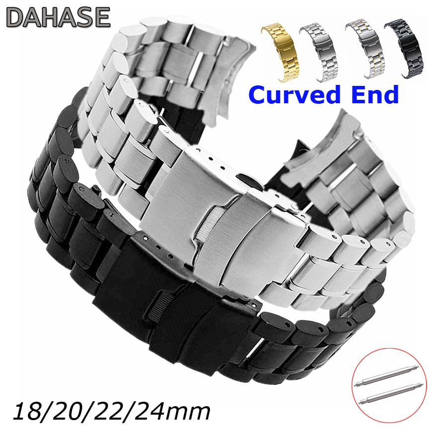 Curved End Replacement Watch Band 18mm 20mm 22mm 24mm Stainless Steel Watchband Double Lock Buckle Wrist Belt Watch Strap SB5ZWT stainless steel watchband bracelet 20mm 22mm men metal brushed curved end watch band strap clocks accessories
