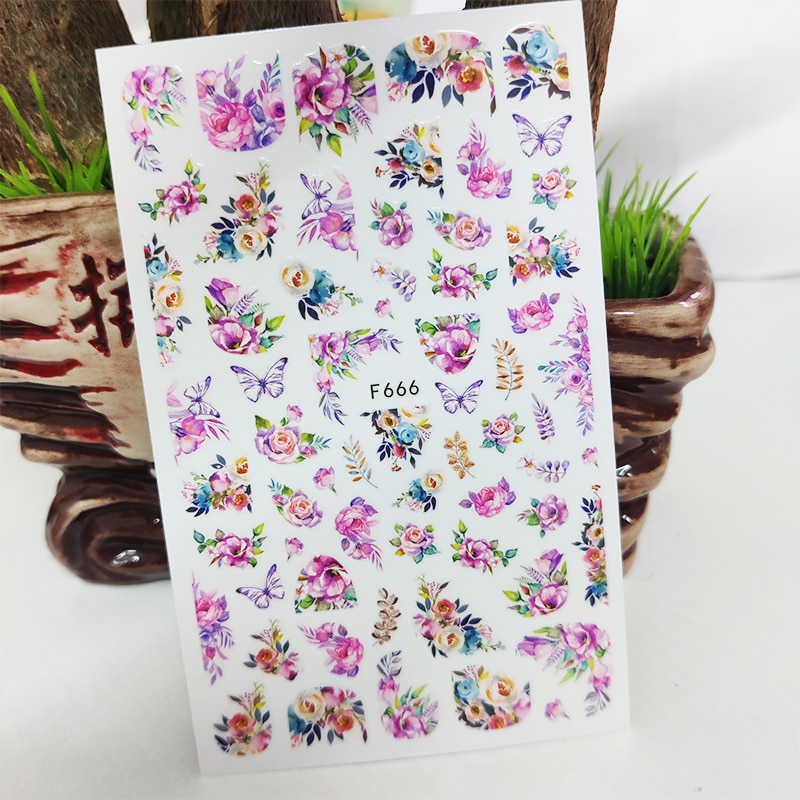 3D Nail Sticker Decals Fashion Butterfly Flowers Nail Art Decorations Stickers Sliders Manicure Accessories Nails Decoraciones all 3d laser holographic nail stickers for nails manicure nail art decals stickers decor decorations things