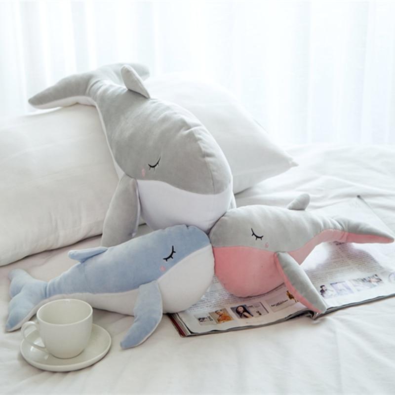 Huggable Sleeping Dolphin Plush Toy Soft Stuffed Cartoon Animal Whale Doll Nap Sofa Chair Pillow Cushion Kids Girlfriends Gift недорого