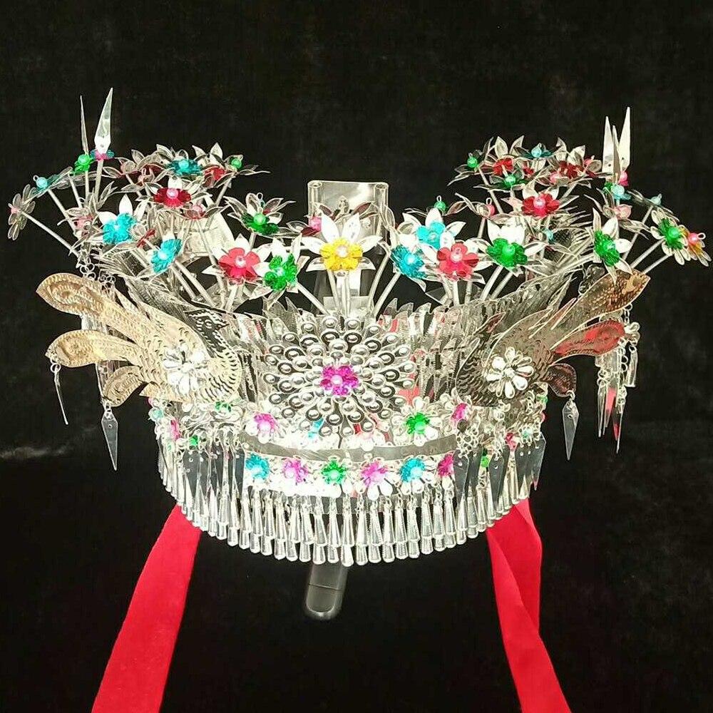 أغطية رأس فضية ملونة ، قبعات مياو الصينية للأداء المسرحي ، إكسسوار للحفلات التنكرية