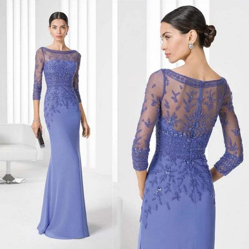 Blue Mother Of The Bride Dresses Sheath 3/4 Sleeves Chiffon Appliques Beaded Plus Size Long Groom Mo