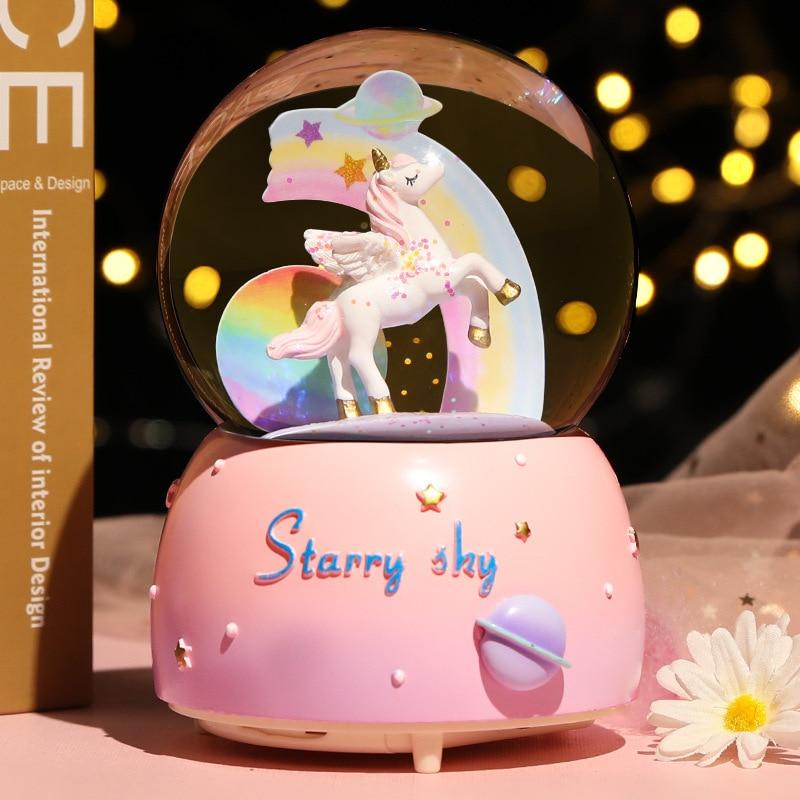 Dream Girl Unicorn Crystal Ball Music Box Bedroom Desktop Ornaments Student Music Box Snowflake Wate