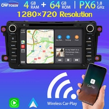 "8 ""1280*720P جهاز تشغيل أقراص دي في دي بالسيارة مشغل وسائط متعددة الروبوت 9.0 PX6 4G + 64G TDA7850 مذياع GPS لمازدا CX9 2009-2015 بلوتوث 5.0 5 * USB DAB"