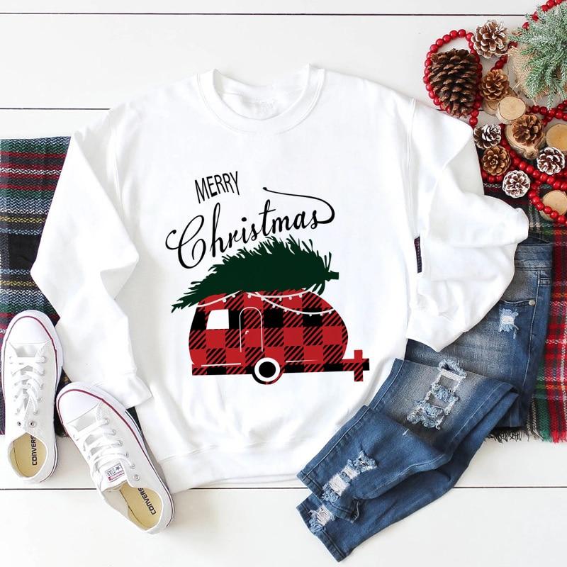 Jersey de Año Nuevo de Navidad para Mujer, a la moda ropa de invierno, Jersey informal, jersey blanco de manga larga Harajuku de talla grande para Mujer