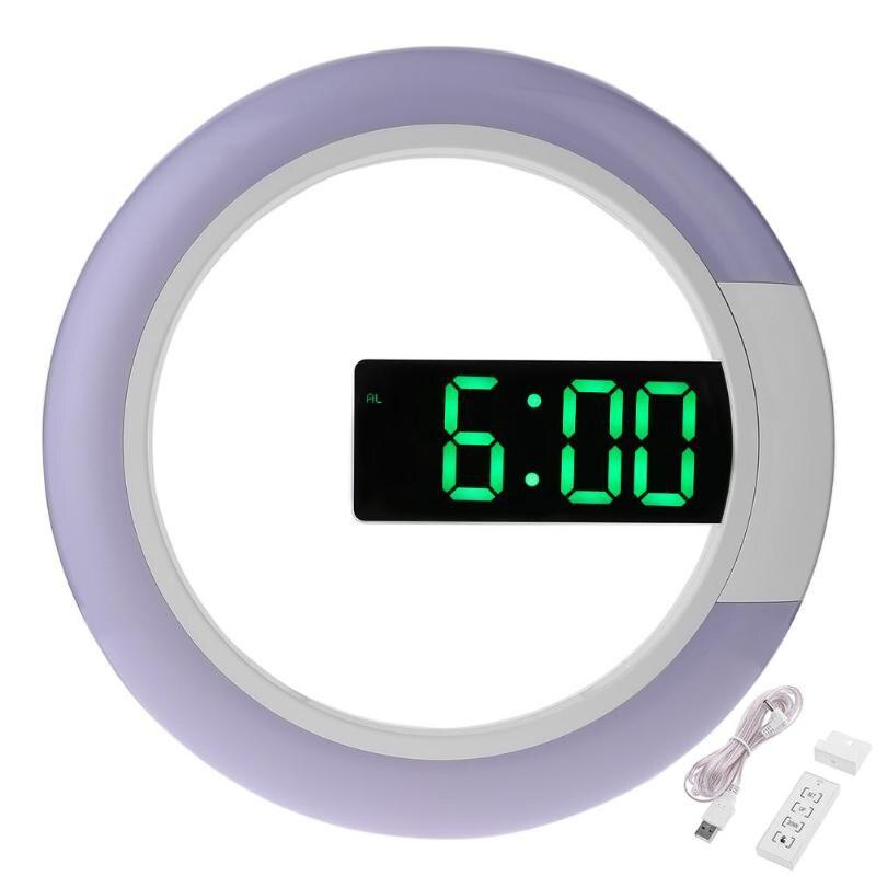 Reloj de pared LED Digital diseño moderno alarma brillo ajustable relojes colgantes Reloj de pared con temperatura decoración del hogar 12 pulgadas