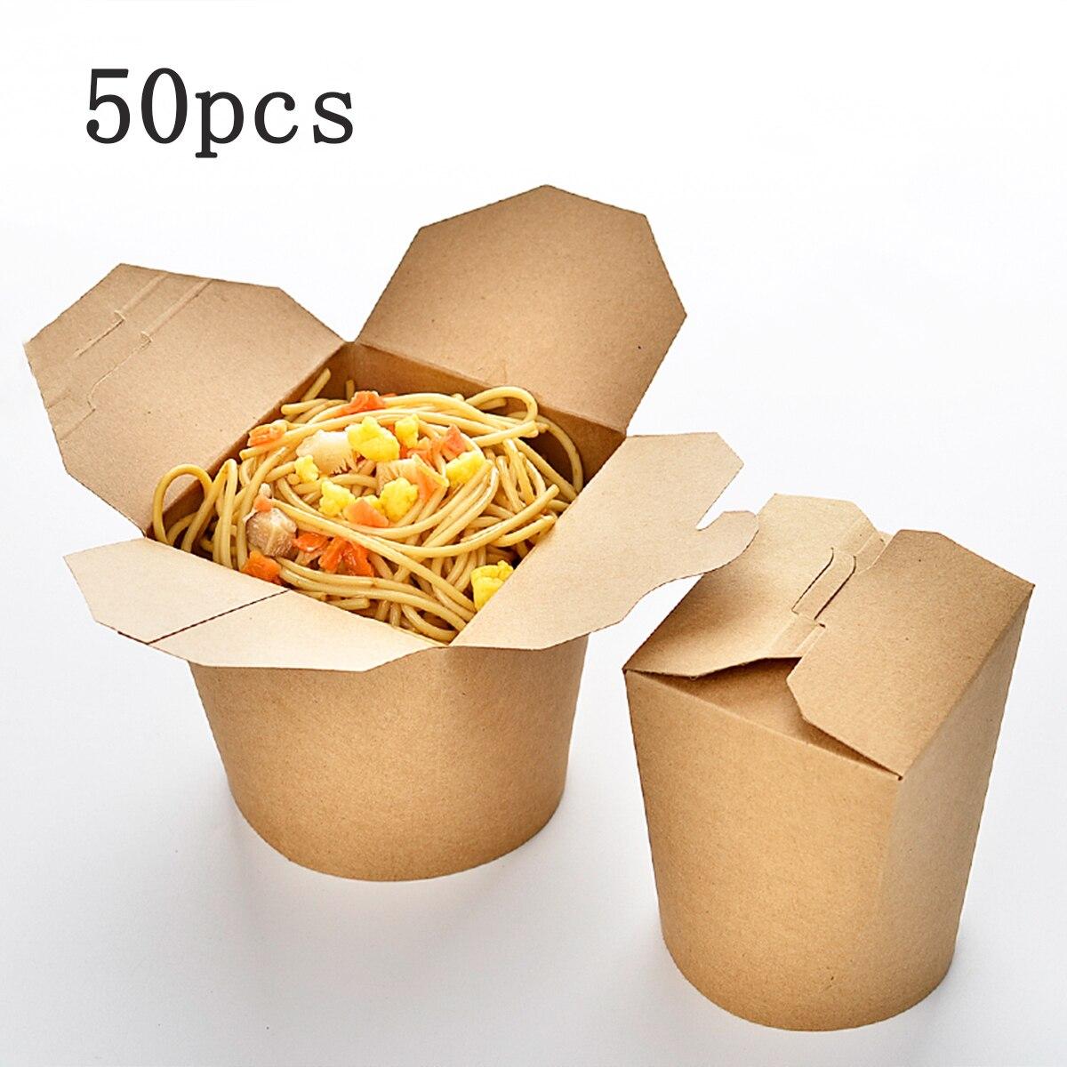 Cubo de Papel Kraft de 50 uds/set16 onzas contenedores preparación comida desechable Paquete de comida para llevar caja de papel Kraft boda fiesta de cumpleaños