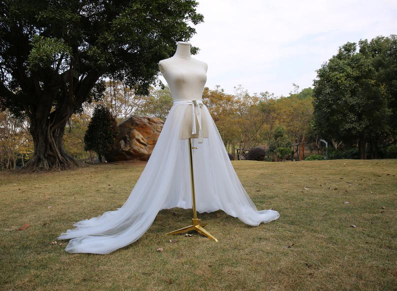 تنورة زفاف تول طويلة قابلة للفصل ، تنورة قطار قابلة للفصل ، تنورة تول مخصصة ، إكسسوارات زفاف قابلة للفصل