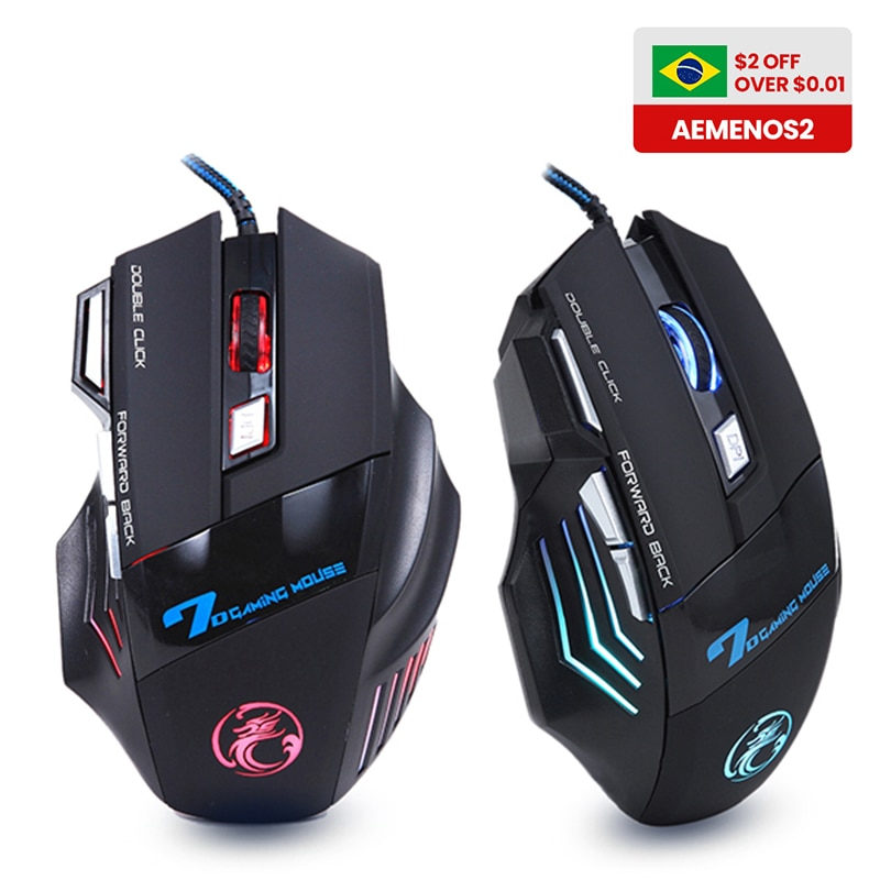 Ergonomic Wired Gaming Mouse 7 Button LED 5500 DPI USB Computer Mouse Gamer Mice X7 Silent Mause Wit